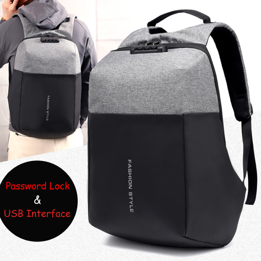 15 15.6 17 17.3 Inch with USB Interface Password Lock Nylon Notebook Laptop Backpack Bags Case School Backpack for Men Women jacodel 14 15 15 6 inch business nylon laptop notebook backpack bags case school backpack for men women 15 inch laptop bag 15 6