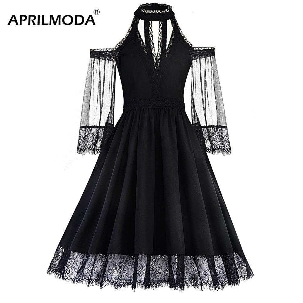 2019 New Plus Size Women Gothic Dress Black Midi Vestidos ...
