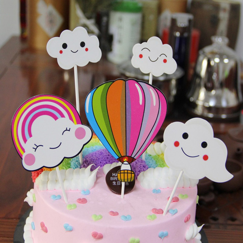 Awe Inspiring 5Pcs Set Hot Air Balloon Cupcake Baby Shower For Girls Cloud Funny Birthday Cards Online Necthendildamsfinfo