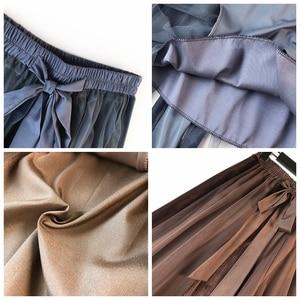 Image 5 - Hiver Vintage velours Patchwork jupe longue femmes taille haute lacets Tutu jupes Femininas Saias Krean Style vêtements