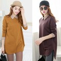 new winter women's fashion loose big yards long section long-sleeved t-shirt women t-shirt