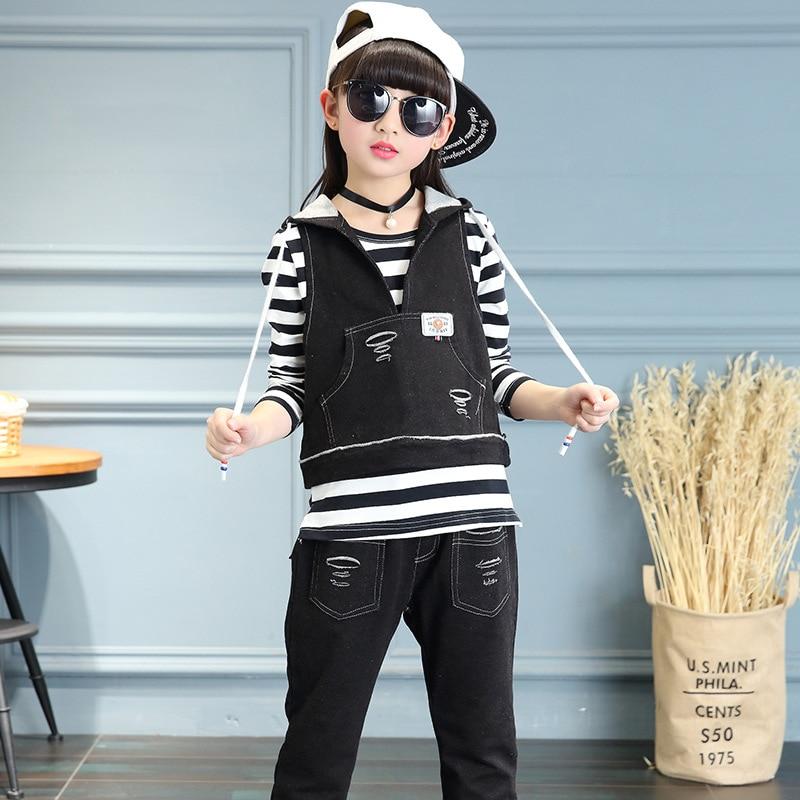 3pcs Girl Clothes Set 2017 Autumn children clothing set Girl  jeans suit Vest +T-shirt+ Pants  3 piece set For Kids Wear