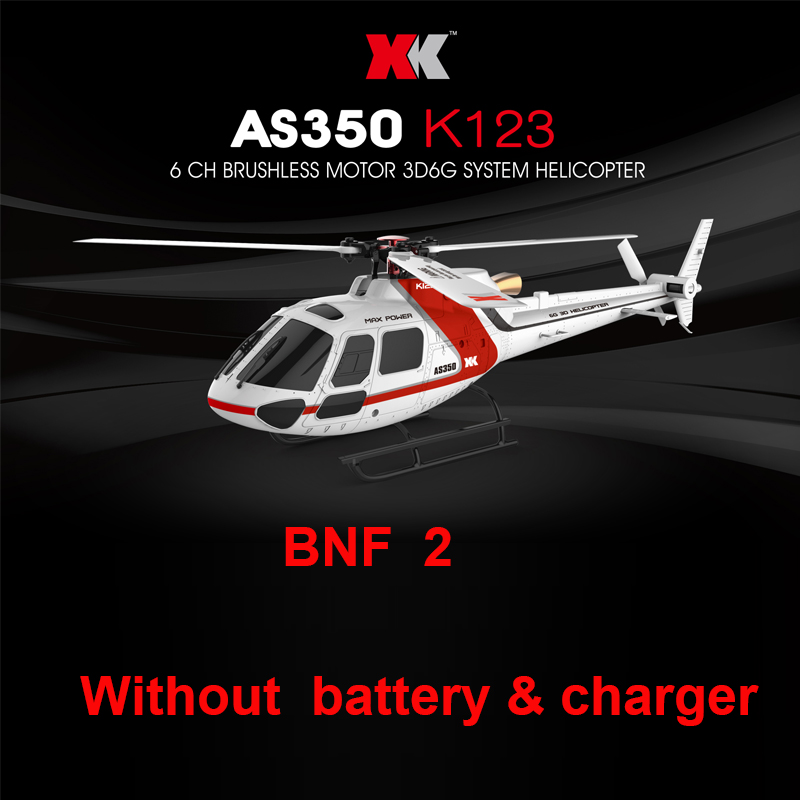 XK K123 BNF 2 version  (Without remote control,battery ,charger ) only helicopter  Brushless AS350 Scale 3D6G System for syma x8sw x8sc remote control helicopter 3pcs battery and the us regulatory charger with 1 care 3 conversion line