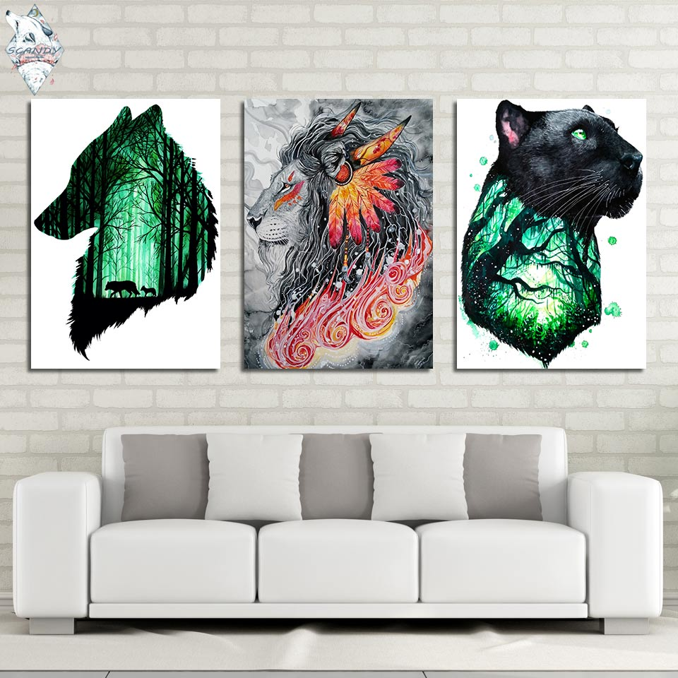 Firsthunt by Scandy Girl HD print 1 piece canvas art Wolf and Lion abstract Wall Pictures For Living Room Poster Artsailing