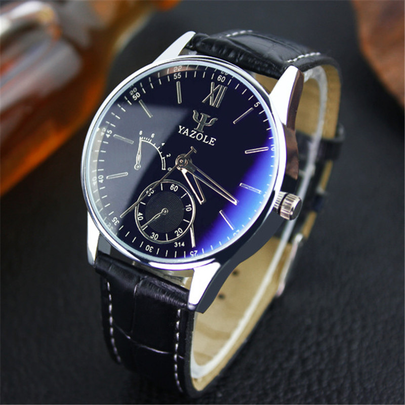 YAZOLE Top Brand Luxury Men Watch Casual Leather Strap Waterproof Business Style Quartz Watches Male Clock Relogio Masculino