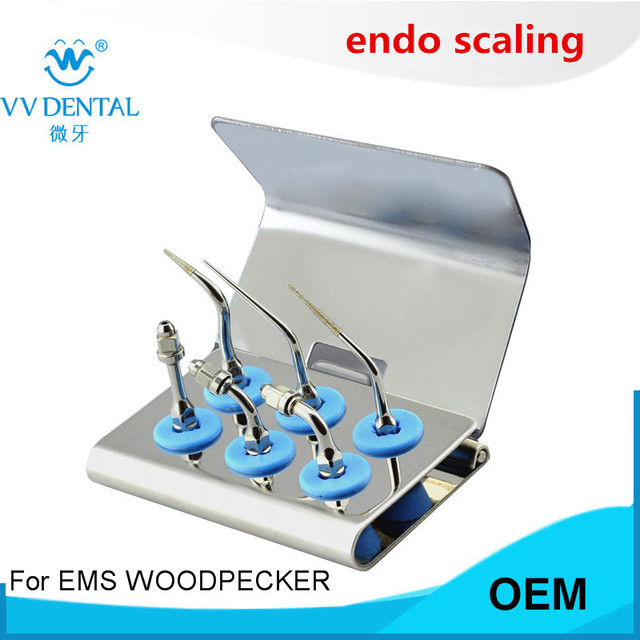 1 Juego de kit de puntas de Endodoncia de escalador dental profesional de EEKS para instrumento dental de WOODPECKER de EMS