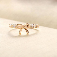 Princess Queen Korean Jewelry Simple Crystal Bow Fashion Jewelry Ring  Engagement rings for women Engagement PartyJ.10