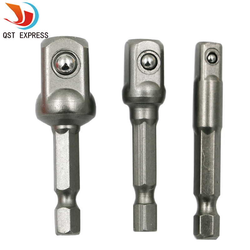 3pcs Chrome Vanadium Steel Socket Adapter Seth Ex Shank To 1/4