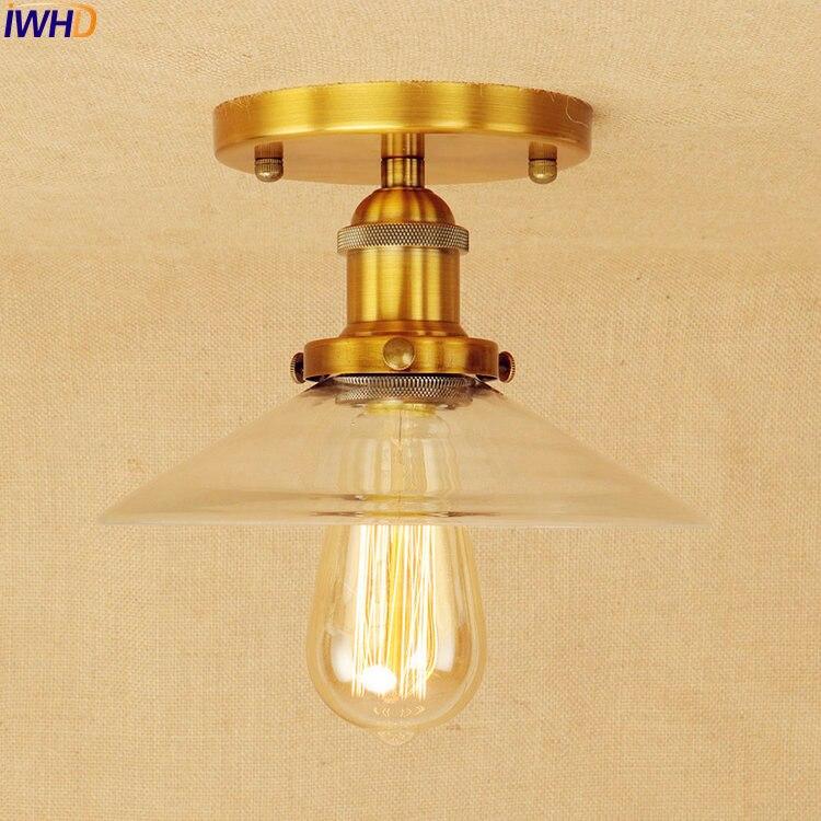 Gold Industrial Ceiling Lamps Flush Mount Glass Home Lighting Vintage Ceiling Light LED Edison Lampara Techo Plafon Luminaria