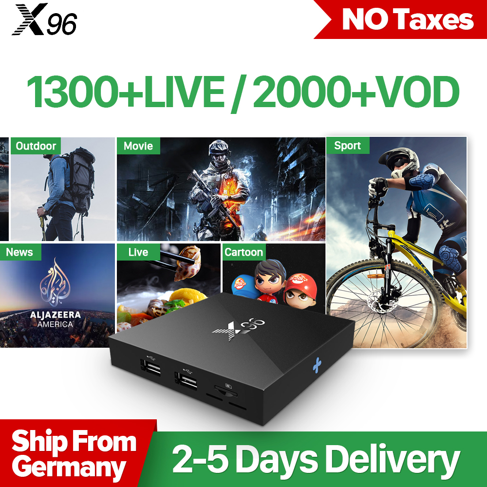 X96 TV Box Android 6.0 S905X Quad Core 2GB 16GB Wifi 2.4G HD 4K Smart Box 1 Year QHDTV 1300 Channels Europe Arabic IPTV Top Box