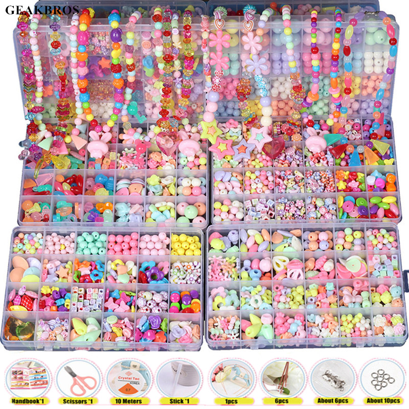 Creative DIY Handmade Beaded Toy with Whole Accessory Set Children Kids Girls Jewelry Art Craft Educational Toys Presents Gift