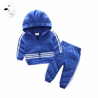 BINIDUCKLING 2017 New Chidren Boys Girls Clothing Set Autumn Fashion Hooded Coat Suits Kids Striped Clothes