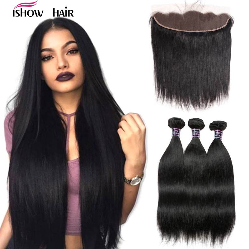 Ishow Malaysian Straight Hair Bundles With Frontal Human Hair Bundles With Frontal Closure 3 Bundles With Frontal Non Remy Hair