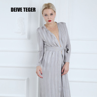 DEIVE TEGER Evening Party Fashion 2017 Long Sleeve Long Top Two Pieces Full Length Women Jumpsuits HL2677