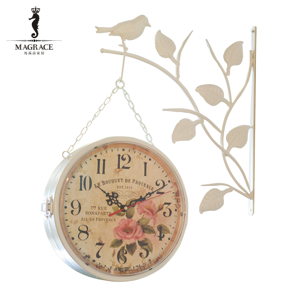 Modern Brief Side Hanging Double Side Wall Clock Bird Natural
