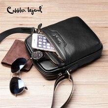 Cobbler Legend Black Genuine Leather Male Bag Travel Crossbody for Men Handbag Business Messenger Laptop