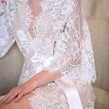 KLV Womens Eyelash Lace Sleepwear Gown Bride Wedding Lingerie Babydoll Erotic Kimono