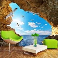 Benutzerdefinierte Foto Tapetenwandbilder 3D Blauen Himmel Weiße Wolken Möwen Cave Landschaft Wandbild Home Innendekoration Tapeten