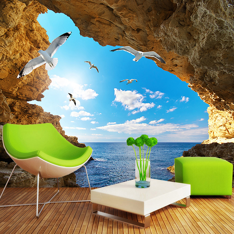 Custom Photo Wallpaper Murals 3D Blue Sky White Clouds Seagulls Cave Landscape Mural Wall Home Interior Decoration Wall Paper