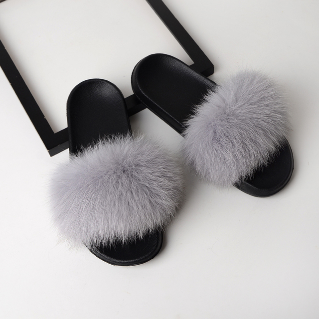 ZDFURS Women Fur Slippers...