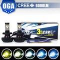 OGA 2 PCS kit Car Fog Lâmpada H4 HB2 9003 Cree chips de LED Branco Lâmpadas de Automóveis Kit de Conversão Auto 3000 K/4300 K/6500/8000 K/10000 K