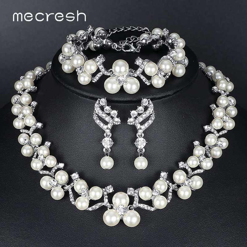 Mecresh Simulated Pearl Bridal Jewelry Sets 2018 New Wedding Jewelry Earrings Bracelets Necklace Sets for Women MTL472+MSL246