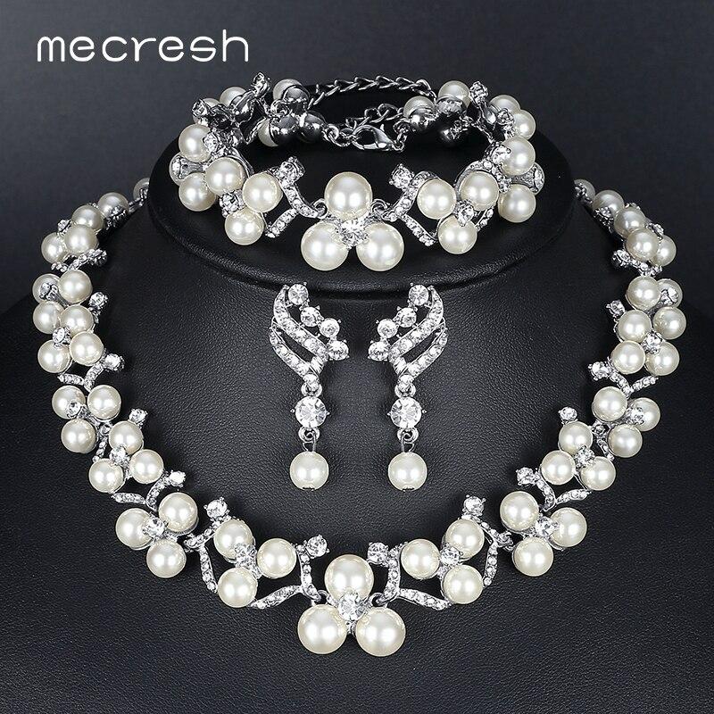 Mecresh Simulierte Perlenschmuck Sets 2018 Neue Hochzeit Schmuck Ohrringe Armbänder Halskette Sets für Frauen MTL472 + MSL246