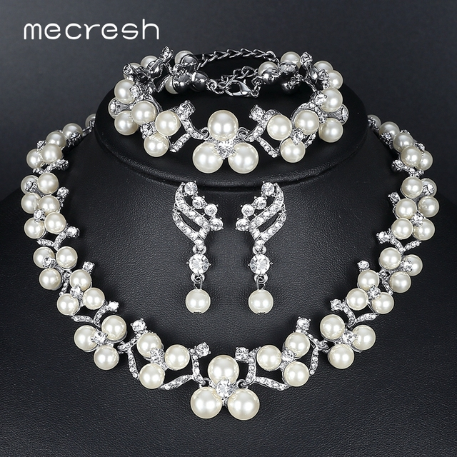 fc869a2aef US $5.88 5% OFF|Mecresh Simulated Pearl Bridal Jewelry Sets 2018 New  Wedding Jewelry Earrings Bracelets Necklace Sets for Women MTL472+MSL246-in  ...