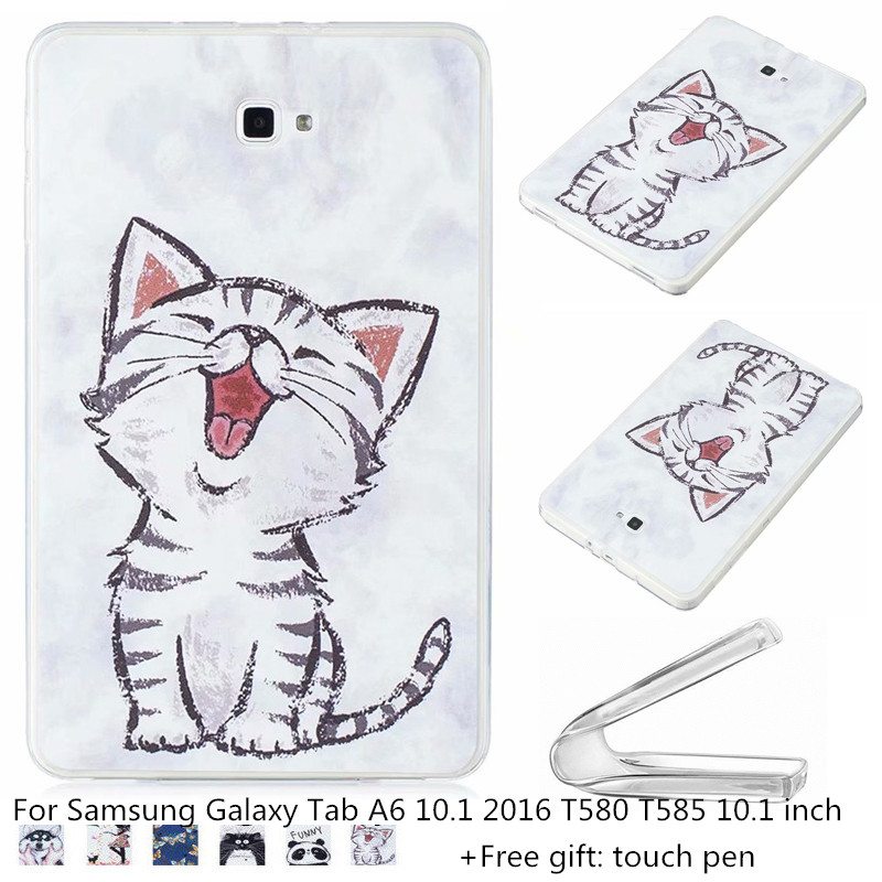 Child Cartoon Case for Samsung Galaxy Tab A6 10.1 2016 T580 <font><b>T585</b></font> Soft TPU Cover for 10.1'Samsung SM-T580 585 Tablet Cases + pen image