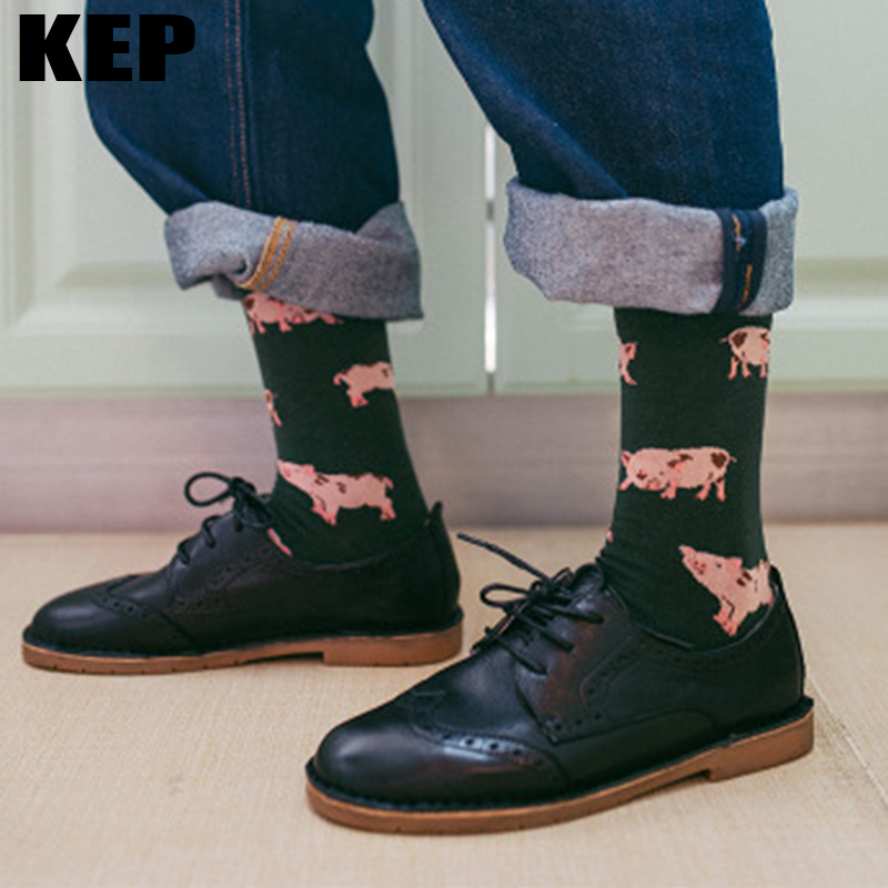 KEP Fashion Harajuku Japanese Cute Animal Pig Crew Women Socks Lovely Sweet Pink Cotton Socks High Quality For Girls Ladies