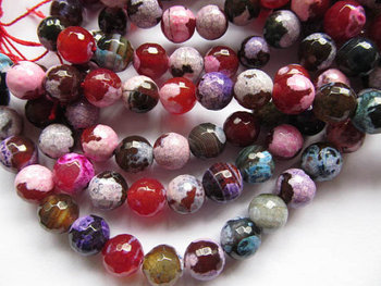 free ship--5strands 10mm fire agate round ball faceted crab multicolor beads