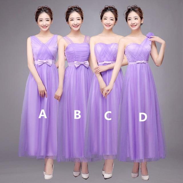 Bridesmaid Dresses Long Dress 2017 Ankle Length Vestido Longo Pink Blue Grey