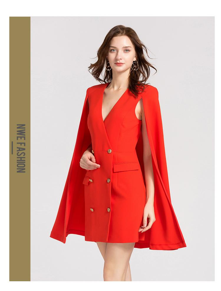 ce7668e20aca LXUNYI New Autumn Red Blazer Dress Cape V Neck Women Cloak Dress Female  Formal Double Breasted Slim Office Dresses Ladies 2018