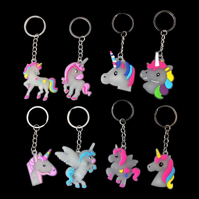 Cartoon Glow In Dark Fairytale Unicorn Keychain Keyring For Woman Girls Handbag Car Keyholder Jewelry 8pcs