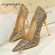 2019 New Spring/Autumn Women Pumps High Thin Heel Pointed Toe Bling Bridal Wedding Women Shoes Gold Sexy Ladies High Metal Heels spring summer women high heels shoes pointed thin heel matel heels pumps elegant sexy heeled carved metal wedding shoes g1723 1