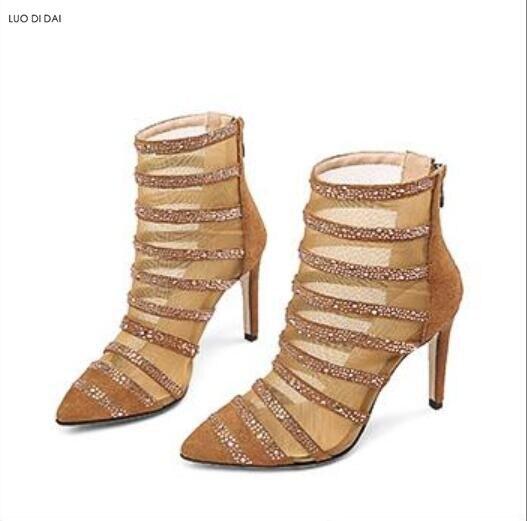 2018 new women air mesh boots point toe booties zip up botas thin heel rhinestone boots ladies dress shoes gladiator mujer botas