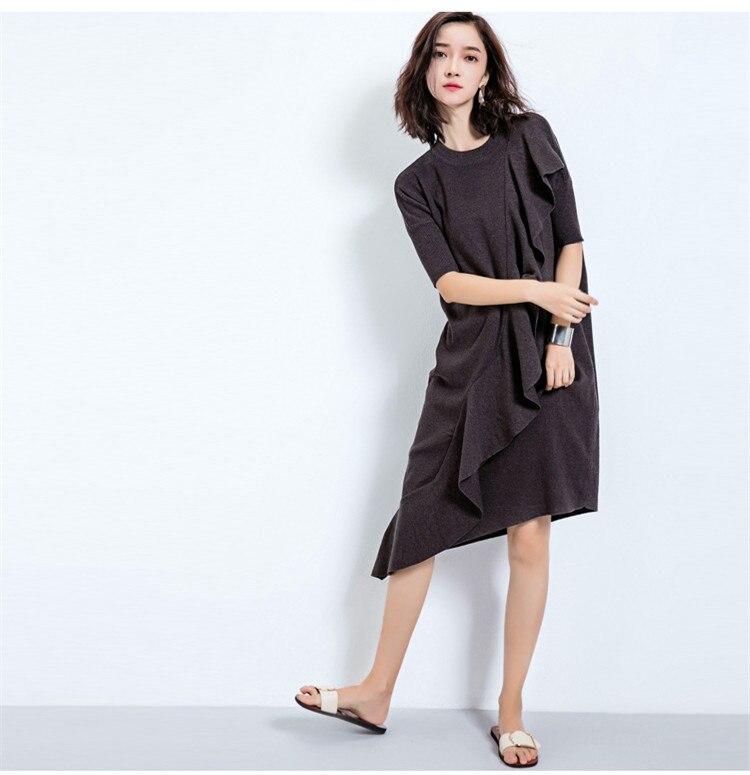 16Women knitted Dress short sleeve solid Sweater Dress Korea Ruffles Irregular cutting wool dress autumn Long Loose Basic wear