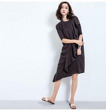16 Для женщин трикотажное платье с коротким рукавом Платья-свитеры Корея оборками нерегулярные резки шерстяное платье Осень Длинные свободные основной износ