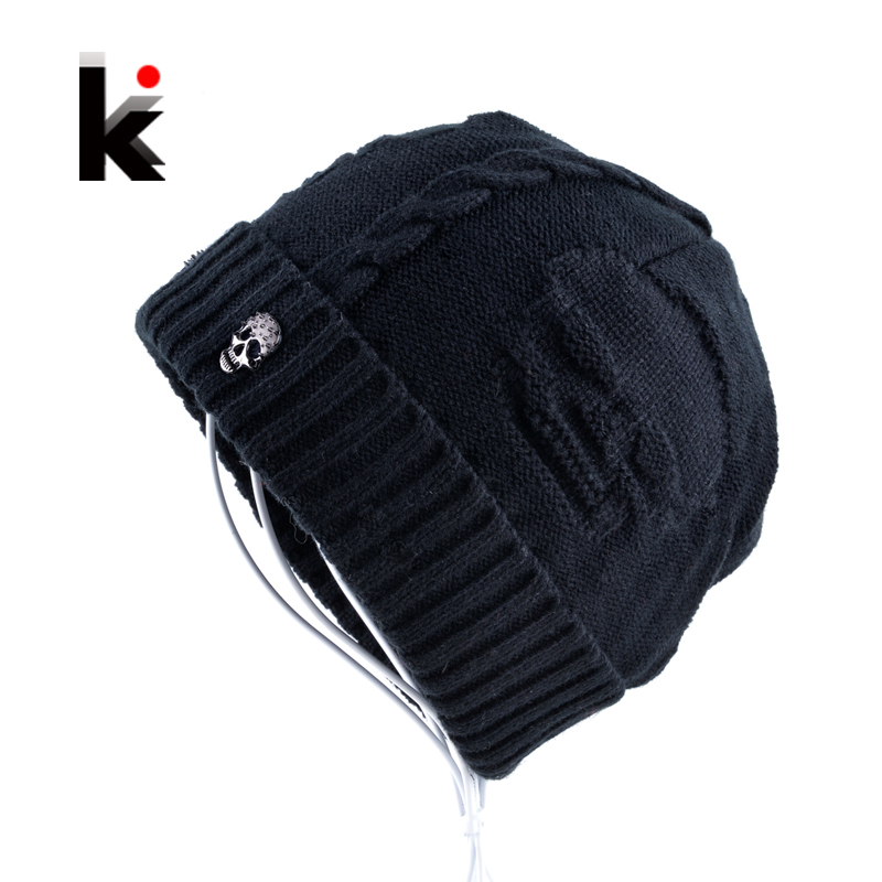2017 Mens font b Skullies b font Winter Hat Beanies Knitted Wool Hip Hop Stocking Hat