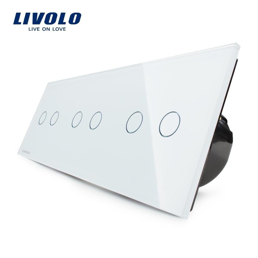 Livolo UE Standard, Tactile Interrupteur, Combinaison Libre De Luxe Mur Triple Commutateur de Contact, VL-C706-11, avec Panneau Verre Cristal Blanc