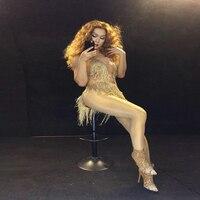 2019 Women New Sexy Tassels Bodysuit Gold Rhinestone Tassel Costume Dj Singer Prom Celebrate Outfit Skinny Costume Jumpsuit