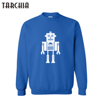 TARCHIA Spring Autumn Men Pullover Hoodie ROBOT Print HipHop Sweatshirt Cool Long Sleeve Crew Neck Casual