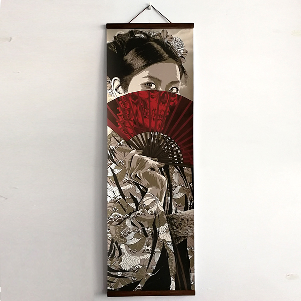 HTB1D0sgb3KTBuNkSne1q6yJoXXaE Japanese Ukiyoe for HD canvas poster wall pictures for living room decoration painting wall art with solid wood hanging scroll
