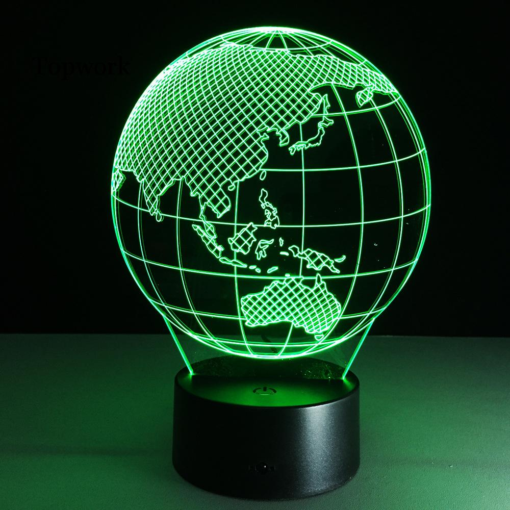 Oceania Map Earth Globe 3D Lamp LED 7 Colorful Touch Sensitive Acrylic Panel Visual Lights Table Gift image