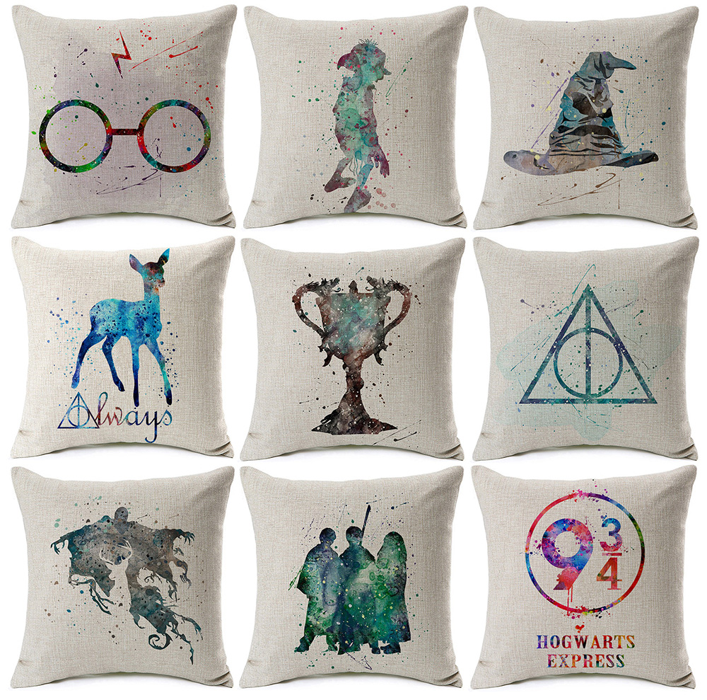 Watercolor Potter Cushion Cover Goblet Of Fire Witch Pillow Cover Thin Linen Cotton Pillow Cases Bedroom Decor