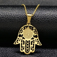 2017 Hamsa Jesus Stainless Steel Chain Necklaces Men Gold Color Statement Necklace Jewelery For Men masculino feminino N166263B