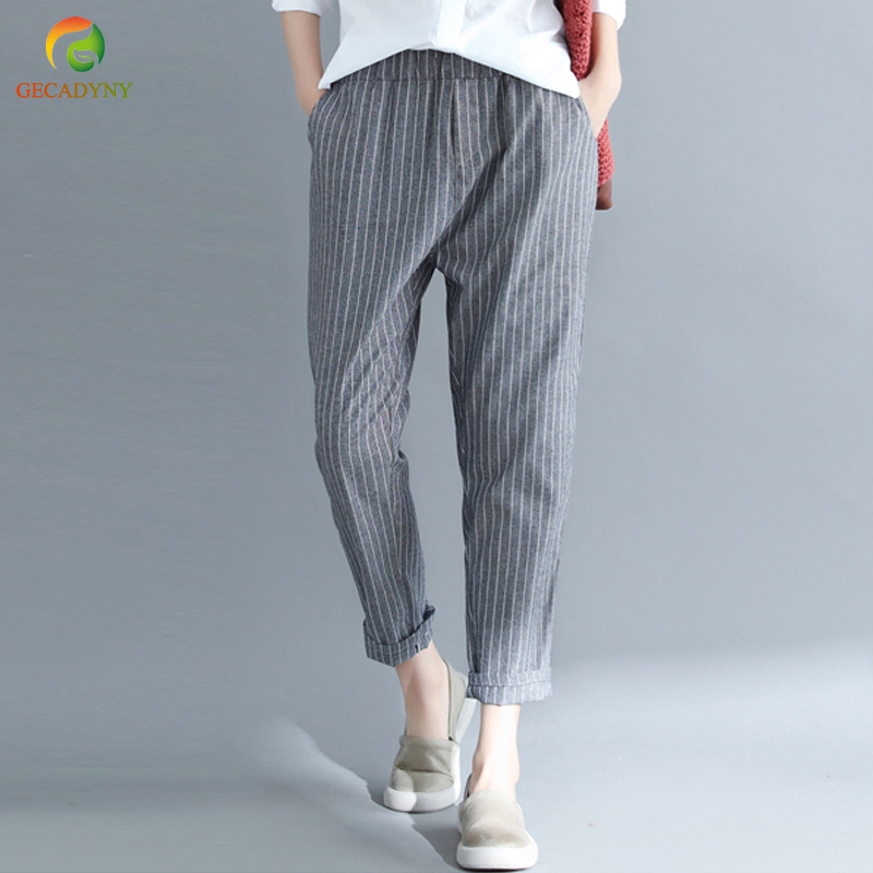 2018 New Summer Women Cotton Linen Harem Pants Casual Loose Striped Plus Size Women Trousers Female Elastic Waist Pants M-4XL