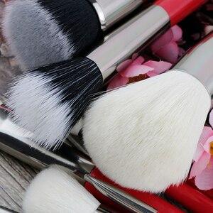 Image 5 - Set de brochas de maquillaje profesionales BEILI Red, brocha de maquillaje Natural para cabello, base, colorete, mezcla de ojos, delineador para cejas, herramienta de brocha de maquillaje