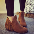 HOT Sale! Autumn Winter Fashion Trendy Female Tassels Slip-On Martin Boots Thicken Bottom Low Heel Lady Shoes Ankle Booties G028