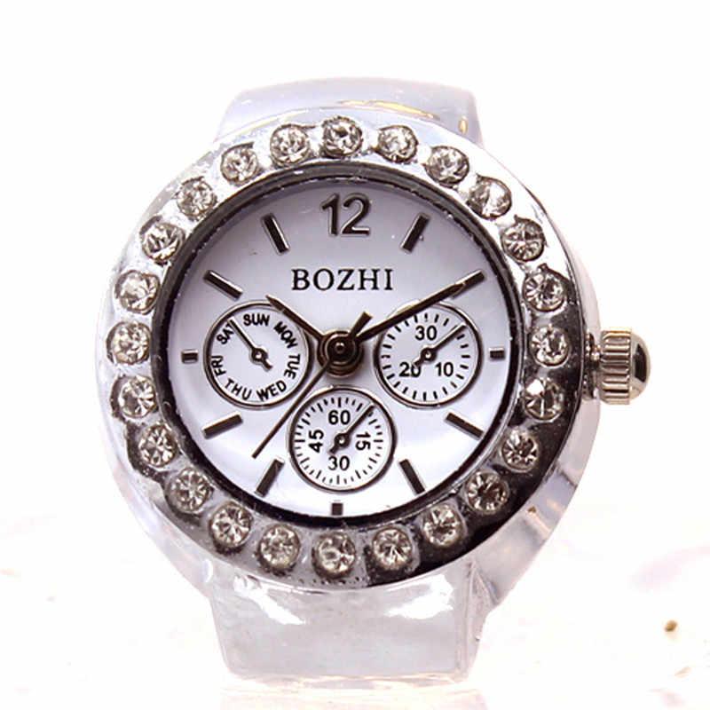 Moda Design Exclusivo Dial Quartz Analog Watch Aço Fresco Elastic Quartz Watch Ring Finger Presente para Amantes relogio feminino # D
